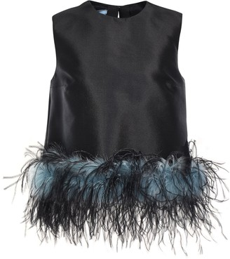 Prada Feather-trimmed Wool And Silk-blend Faille Top