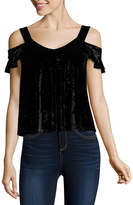 Self Esteem Short Sleeve V Neck Velvet Blouse-Juniors
