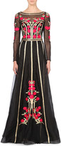 Temperley London Floral-embroidered organza gown