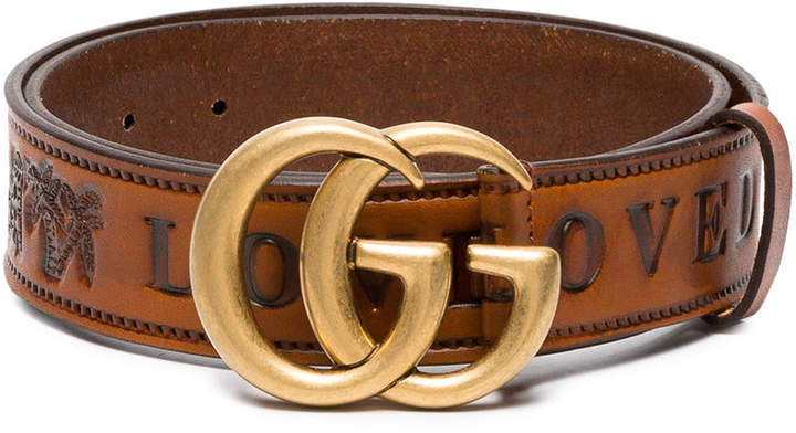Gucci Brown GG Logo Leather Belt
