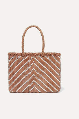 Dragon Optical Diffusion - Kumari Small Two-tone Woven Leather Tote - Tan