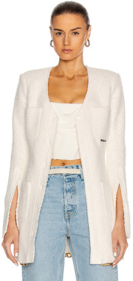 Alexander Wang Long Chain Hem Fitted Shirt Jacket in Ivory | FWRD