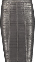 Herve Leger Metallic bandage pencil skirt