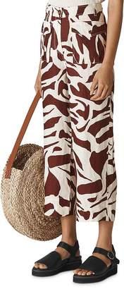 Whistles Ella Zebra-Print Cropped Linen Pants