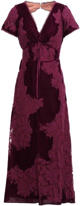 Marchesa Open-back Lace And Velvet Midi Dress