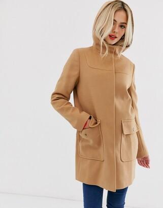 Asos Design DESIGN hooded slim coat-Beige