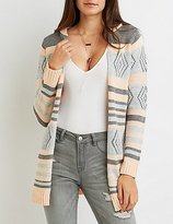 Charlotte Russe Tribal Striped Hooded Cardigan