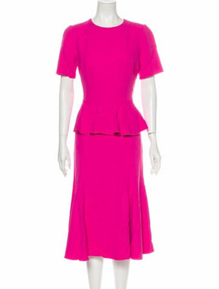 Dolce & Gabbana Crew Neck Midi Length Dress Pink