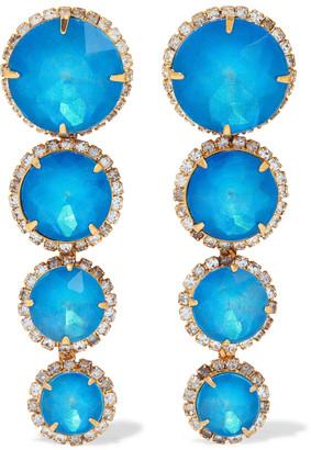 Elizabeth Cole Curtis 24-karat Gold-plated Crystal Earrings
