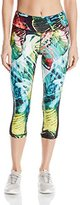 Pink Lotus Women's Raveforest Plams Printed Performance Capri with Side Mesh