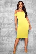 boohoo Ana Off Shoulder Curved Neckline Midi Dress