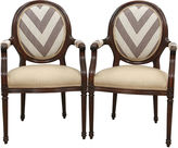 One Kings Lane Vintage Greek Key Oval-Backed Fauteuils, S/2