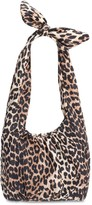 Ganni Leopard Print Nylon Top Handle Bag