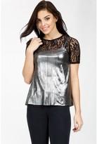Select Fashion Fashion Womens Silver Lace Metallic Top - size 8
