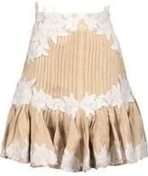 Zimmermann Mischief Rosette Ruffled Embroidered Silk And Linen-Blend Herringbone Mini Skirt