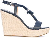 MICHAEL Michael Kors rope detail wedge sandals - women - Cotton/Calf Leather/Leather/rubber - 7