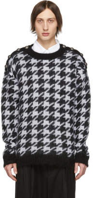 Balmain Black and White Angora Houndstooth Sweater