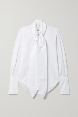 Petar Petrov Chavi Tie-neck Cotton And Silk-blend Poplin Shirt - White