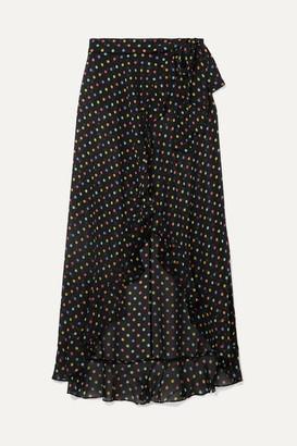 Agent Provocateur Sidnie Polka-dot Silk-chiffon Wrap Skirt - Black
