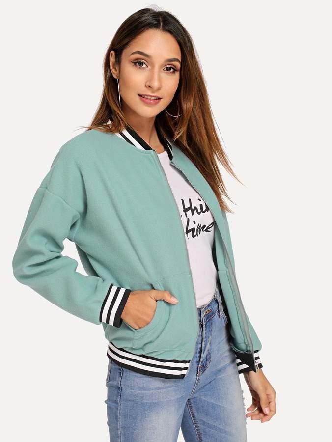 Shein Zip & Pocket Front Striped Jackets
