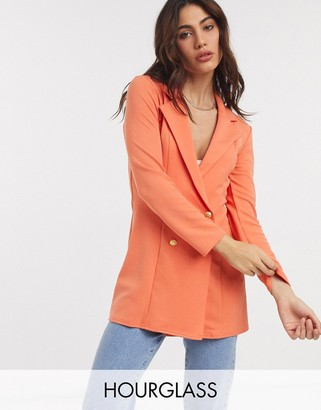 ASOS DESIGN Hourglass glam double breasted jersey blazer in orange