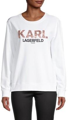 Karl Lagerfeld Paris Graphic Cotton-Blend Sweater