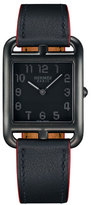 Hermes Cape Cod Matte Black Leather Strap Watch