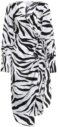 Oscar de la Renta Zebra-print silk twill wrap dress