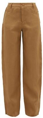 ALBUS LUMEN Raw-edge Linen Trousers - Womens - Camel