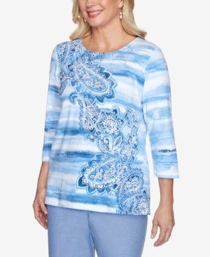 Alfred Dunner Plus Size Watercolor Biadere Paisley Embellished Neckline 3/4 Knit Top