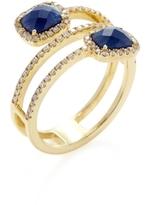 Meira T 14K Yellow Gold, Blue Sapphire & 0.36 Total Ct. Diamond Wraparound Ring