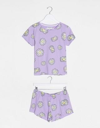Brave Soul flower short sleeve pyjama set in daisy print