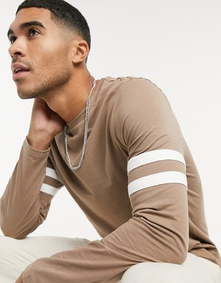 ASOS DESIGN long sleeve t-shirt with contrast sleeve stripe in brown