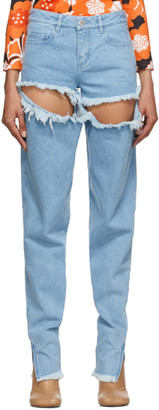 Marques Almeida Blue Ripped Hip Jeans