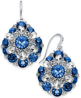 Charter Club Silver-Tone Clear & Blue Crystal Cluster Drop Earrings, Created for Macy's