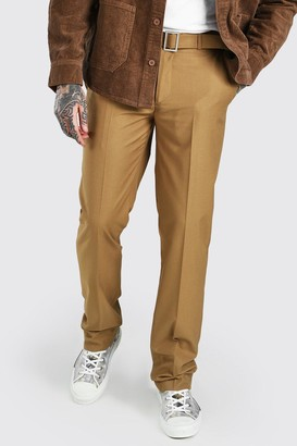 boohoo Mens Brown Relaxed Plain Belt Detail Smart Trousers, Brown