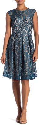 Sandra Darren Lace Sheer Yoke Dress