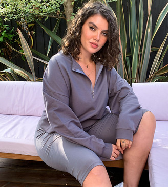 Outrageous Fortune Plus loungewear cropped sweatshirt in charcoal