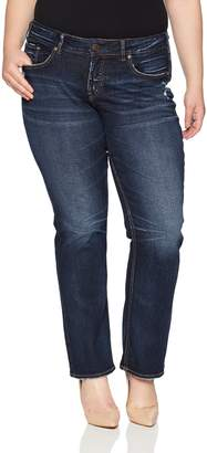 Silver Jeans Co. Women's Plus Size Elyse Relaxed Curvy Fit Mid Rise Slim Bootcut Jeans
