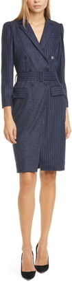Rebecca Taylor Tailored by Mixed Pinstripe Long Sleeve Blazer Dress