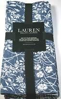 """Ralph Lauren Japanese Floral Napkins Denim Blue 100% Cotton 20"""" x 20"""" 4 Pk."""