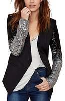 Lemon L E M O N Women Silver Sequins PU Patchwork Long Sleeve Chic Tops Blazer Coats
