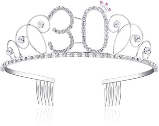 BABEYOND Crystal Tiara Birthday Crown Princess Crowns Hair Accessories Silver Diamante Happy 18/20/30/40/50/60th Birthday (30 Birth)
