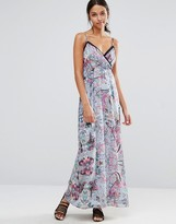 Yumi Floral Cami Maxi Dress With Cut Outs