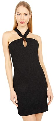 BCBGeneration Cocktail Halter O-Ring Bodycon Dress SB1SX5D03 (Black) Women's Clothing