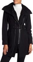 GUESS Faux Fur Trim Belt Coat