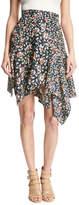 Isabel Marant Rachel Asymmetric Silk Skirt, Black