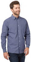 Maine New England Blue Micro Grid Long Sleeved Shirt