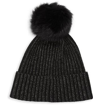Sofia Cashmere Cashmere-Blend & Fox Fur Pom-Pom Hat