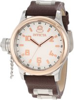 Invicta 10472 Men's Russian Diver Lefty Rose Gold Accents Dial Brown Leather Strap Watch